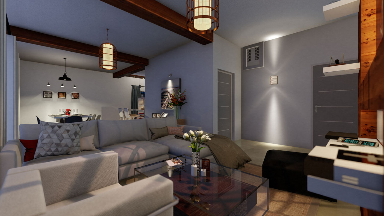 Interior Design 3D rendering Small Family Villa – Mauritius