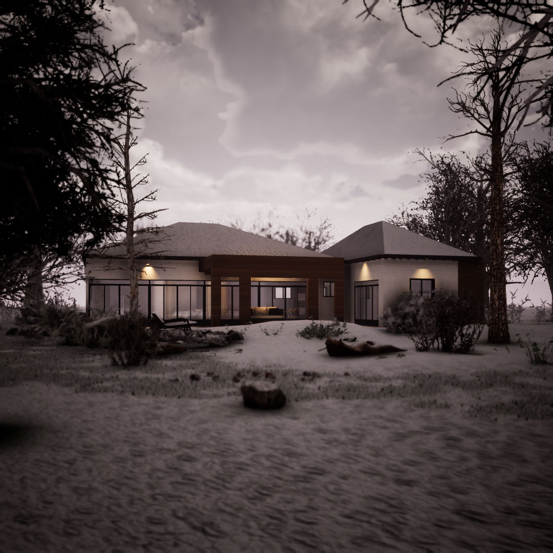 Small Modern House Exterior 3D Rendering – Canada